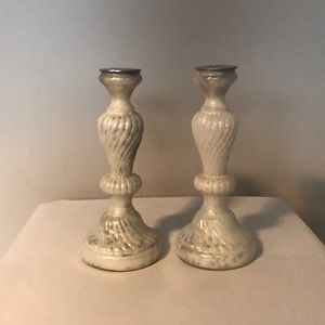 Beautiful Ivory and silver swirl candle holders